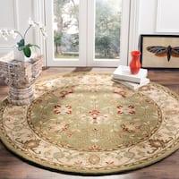 Safavieh Handmade Antiquities Mashad Sage/ Ivory Wool Rug - 8' x 8' Round