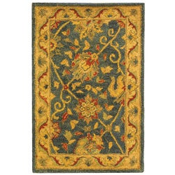 Safavieh Handmade Antiquities Mashad Blue/ Ivory Wool Rug (2' x 3')
