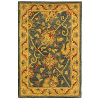 Safavieh Handmade Antiquities Mashad Blue/ Ivory Wool Rug - 2' x 3'
