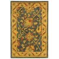 Safavieh Handmade Antiquities Mashad Blue/ Ivory Wool Rug - 2' X 3'