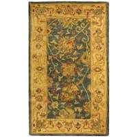 Safavieh Handmade Antiquities Mashad Blue/ Ivory Wool Runner (2'3 x 4)