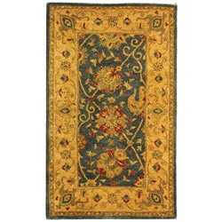 Safavieh Handmade Antiquities Mashad Blue/ Ivory Wool Rug (3' x 5')