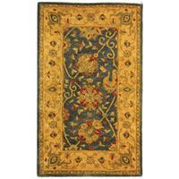 Safavieh Handmade Antiquities Mashad Blue/ Ivory Wool Rug - 3' x 5'