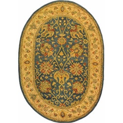 Safavieh Handmade Antiquities Mashad Blue/ Ivory Wool Rug (7'6 x 9'6 Oval)