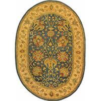 Safavieh Handmade Antiquities Mashad Blue/ Ivory Wool Rug (7'6 x 9'6 Oval)