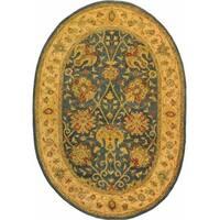 "Safavieh Handmade Antiquities Mashad Blue/ Ivory Wool Rug - 7'-6"" x 9'-6"" oval"