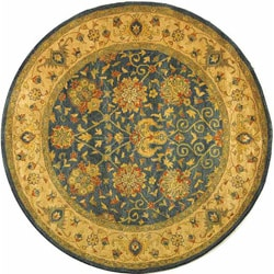 Safavieh Handmade Antiquities Mashad Blue/ Ivory Wool Rug (3'6 Round)