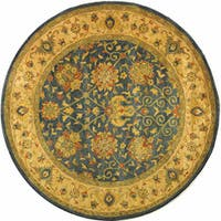 """Safavieh Handmade Antiquities Mashad Blue/ Ivory Wool Rug - 3'6"""" x 3'6"""" round"""