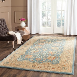 Safavieh Handmade Antiquities Mashad Blue/ Ivory Wool Rug (7'6 x 9'6)