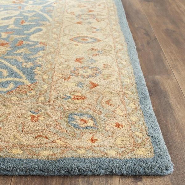 Safavieh Handmade Antiquities Mashad Blue/ Ivory Wool Rug - 7'6 x 9'6