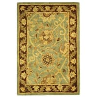 Safavieh Handmade Traditions Teal/ Brown Wool Rug - 2' X 3'