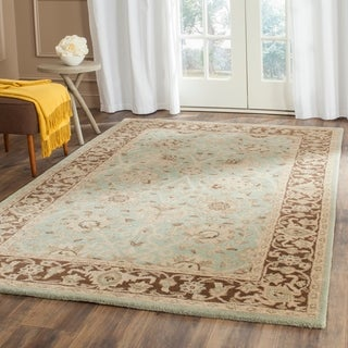 Safavieh Handmade Traditions Teal/ Brown Wool Rug (7'6 x 9'6)