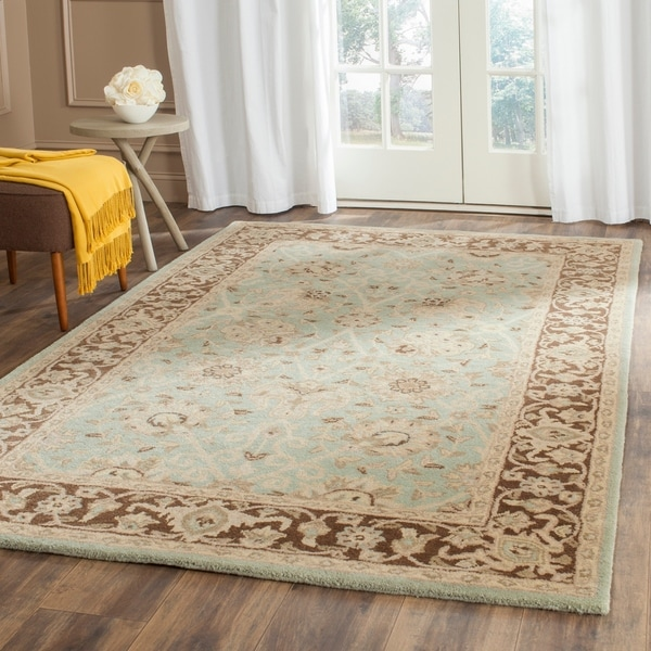 "Safavieh Handmade Traditions Teal/ Brown Wool Rug - 7'6"" x 9'6"""