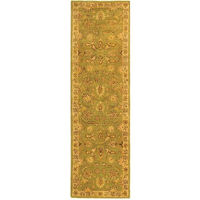 Safavieh Handmade Old World Light Green/ Ivory Wool Runner Rug - 2'3 x 10'