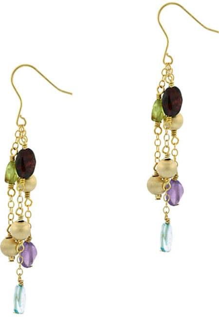 Glitzy Rocks 18k Gold Overlay Multi-gemstone Dangle Earrings