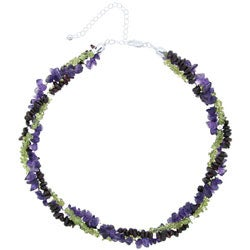 Glitzy Rocks Sterling Silver Multi-gemstone Torsade Necklace