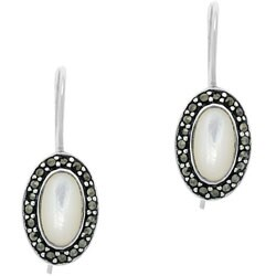 Glitzy Rocks Silver Marcasite and Mother of  Pearl Earrings