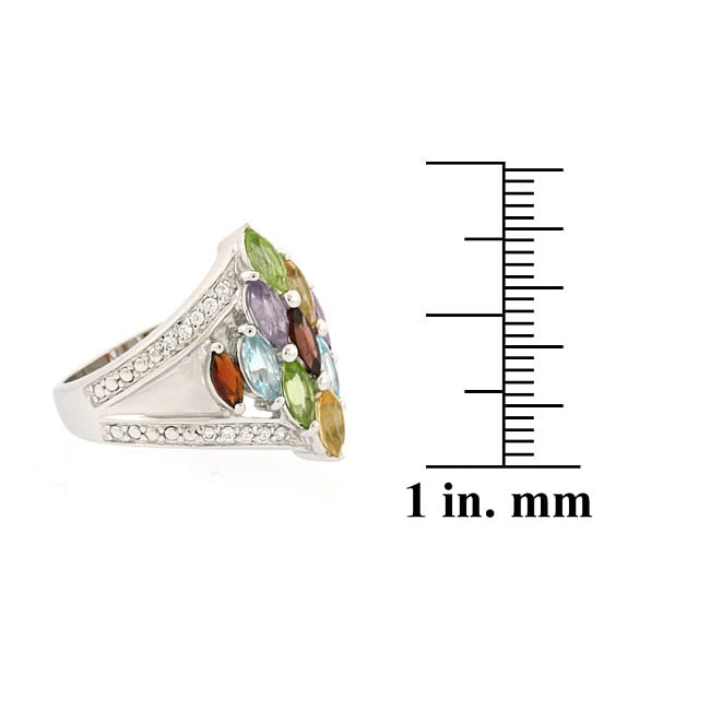 Glitzy Rocks Sterling Silver Multi-gemstone and Cubic Zirconia Ring