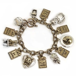 Sweet Romance Animal Cat Lover Charm Locket Bracelet