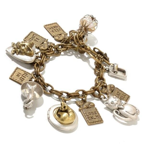 Sweet Romance Animal Cat Lover Charm Locket Bracelet
