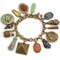 Sweet Romance Vintage King Tut Egyptian Charm Bracelet