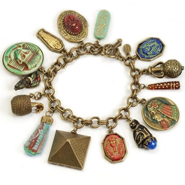 Sweet Romance King Tut Cleopatra Egyptian Museum Charm Bracelet