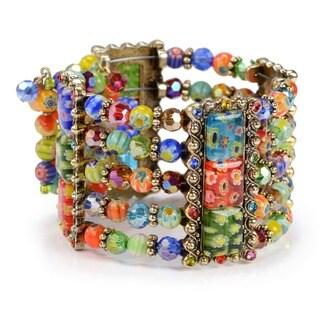 Sweet Romance Millefiori Art Glass Beads Cuff Bracelet