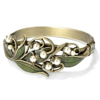 Sweet Romance Lily of the Valley Art Nouveau Pearl Flower Bracelet|https://ak1.ostkcdn.com/images/products/3169176/P11290242.jpg?impolicy=medium