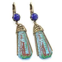 Sweet Romance Egyptian Goddess Art Deco Vintage Turquoise Earrings