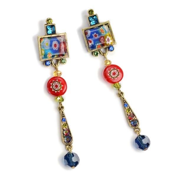 Sweet Romance Millefiori Glass and Gold Rainbow Drop Earrings