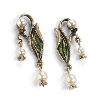 Sweet Romance Lily of the Valley Art Nouveau Pearl Flower Earrings