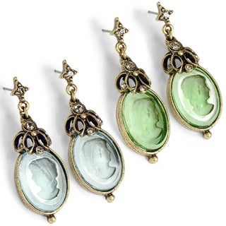 Sweet Romance Intaglio Cameo Vintage Oval Victorian Earrings
