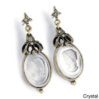 Sweet Romance Intaglio Cameo Vintage Oval Victorian Earrings