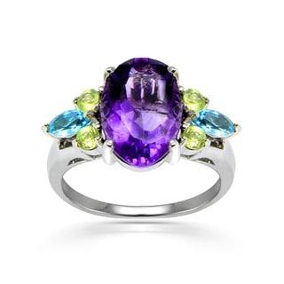 Glitzy Rocks Sterling Silver Semi-precious Cocktail Ring