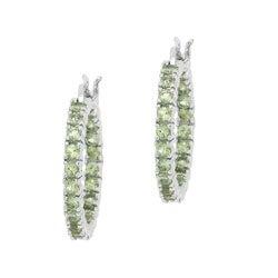 Glitzy Rocks Sterling Silver Peridot Inside-out Hoop Earrings