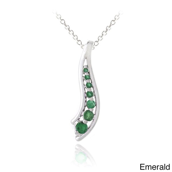 Glitzy Rocks Sterling Silver Emerald or Multi-gemstone Journey Necklace. Opens flyout.