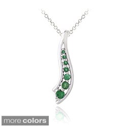 Glitzy Rocks Sterling Silver Emerald or Multi-gemstone Journey Necklace