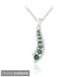 Glitzy Rocks Sterling Silver Emerald or Multi-gemstone Journey Necklace