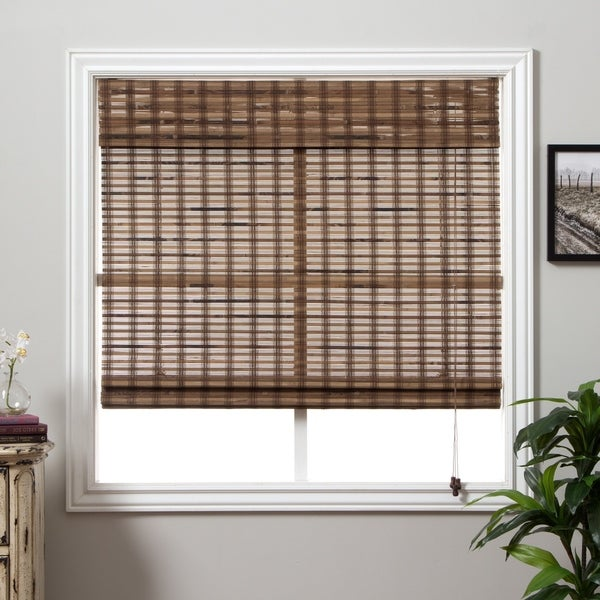 Arlo Blinds Guinea Deep Bamboo Roman Shade with 98 Inch Height - 65 w x 98 h inches