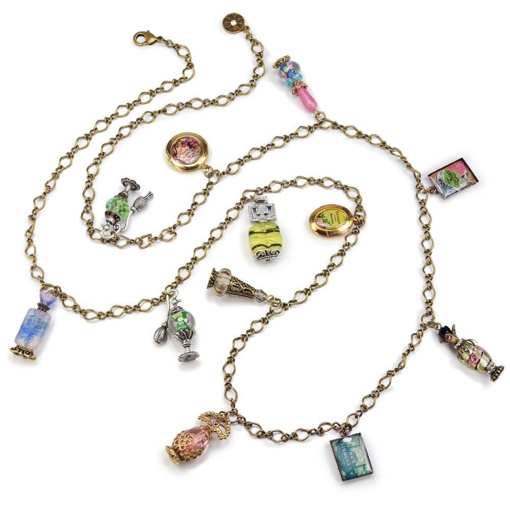 Sweet Romance Vintage Glass Perfume Bottle Charm Necklace...