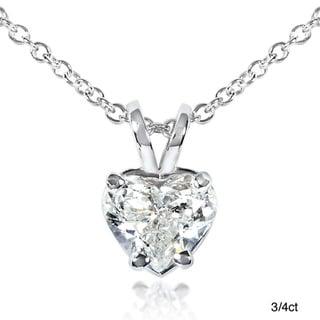 Annello by Kobelli 14k White Gold Diamond Heart Solitaire Necklace (G-H,SI1-SI2)