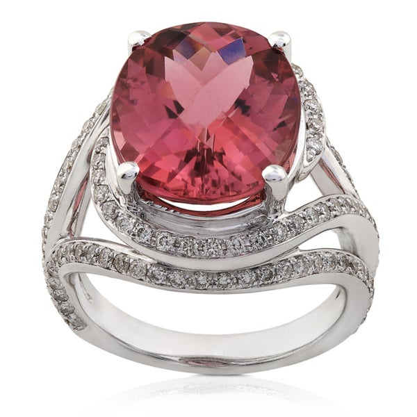 Annello by Kobelli 18k Gold Pink Tourmaline and 7/8ct TDW Diamond Ring (H-I, SI)