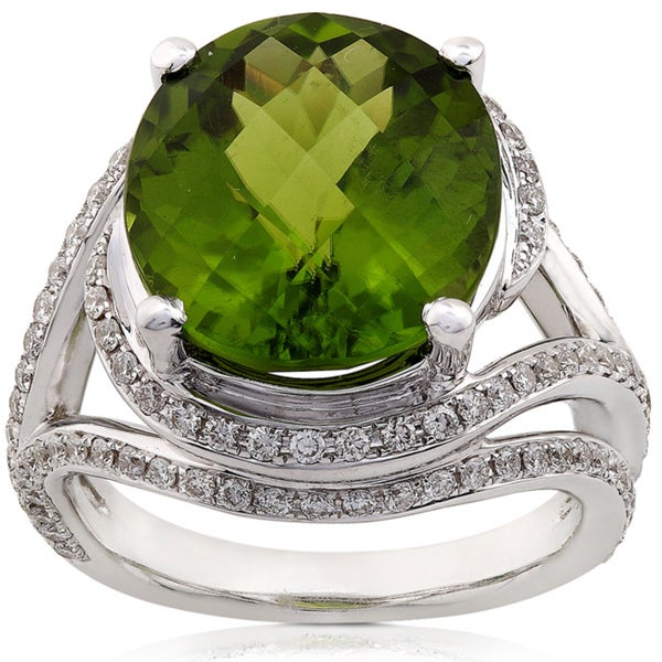Annello by Kobelli 18k White Gold Peridot and 7/8ct TDW Diamond Ring (H-I, SI)