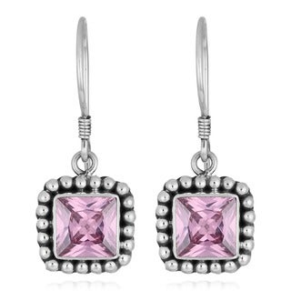 Handmade Sterling Silver Pink Topaz Square Earrings (Indonesia)