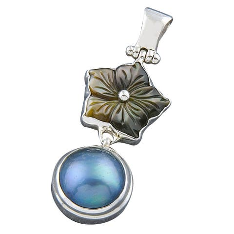 Handmade Silver Tahitian Pearl and Mother Of Pearl Pendant (Indonesia)