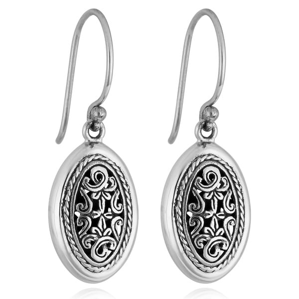Handmade Sterling Silver 'Cawi Carving' Dangle Earrings (Indonesia)