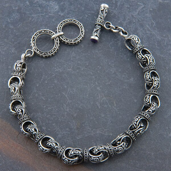 Handmade Silver 'Cawi Motif' Toggle Bracelet (Indonesia)
