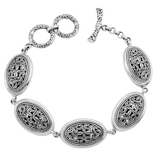 Sterling Silver 'Cawi Motif' Toggle Bracelet (Indonesia)