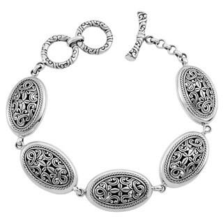 Handmade Sterling Silver 'Cawi Motif' Toggle Bracelet (Indonesia)