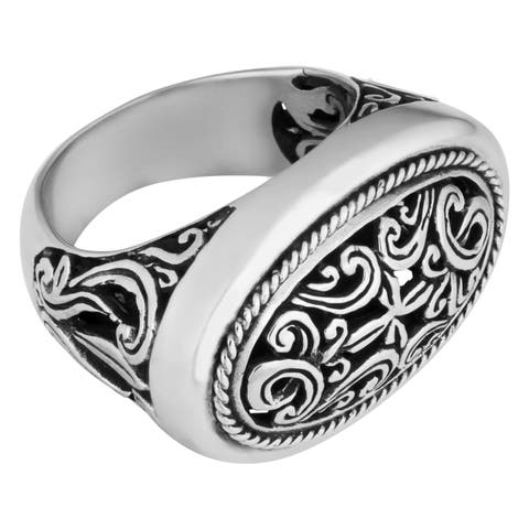 Handmade Sterling Silver Wide Cawi Ring (Indonesia)